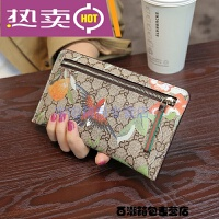 新款欧美超薄女式钱包皮夹女士长款信封钱包零钱包手包潮 杏色印花 小鸟
