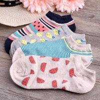日系卡通条纹春夏秋少女士棉袜薄款韩版低帮船袜短筒袜子女短袜
