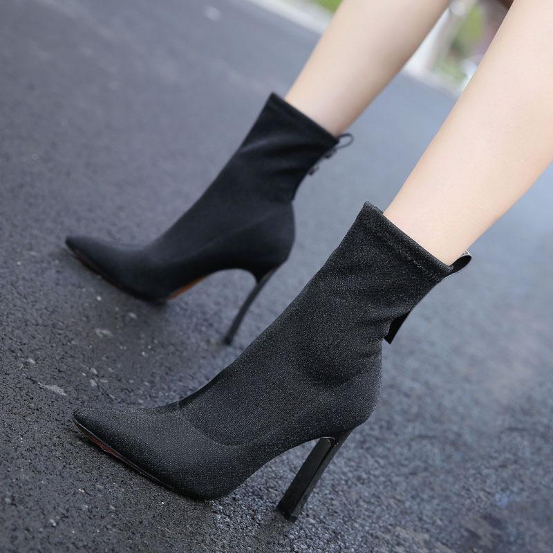 №【2019新款】冬天美女穿的短靴女亮片瘦瘦靴高跟靴欧美弹力靴袜子鞋尖头中筒靴