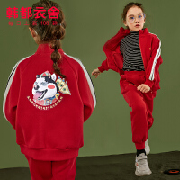 韩都衣舍童装2019冬装新款女童儿童两件套中大童加绒国潮运动套装