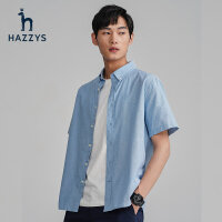 Hazzys哈吉斯春夏新款男士短袖�r衫�棉�色�n版潮流短�r休�e上衣