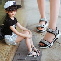 女童凉鞋2018新款韩版夏季儿童学生平底鞋中大童露趾防滑亮片鞋