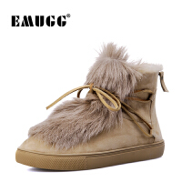 emugg澳洲雪地靴女皮毛一体冬季新款女靴保暖加绒系带平底短筒靴