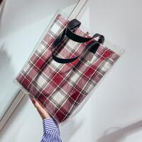 2018新款包包大容量透明女包格子小清新单肩包韩版时尚手提斜挎包