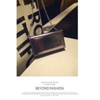 2018韩国时尚新款迷你小方包链条小包包亮皮手拿女包单肩斜挎包潮 黑银色 现货