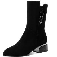 2018新款磨砂皮靴子女中筒靴冬平跟中靴女中跟低跟大码女靴4142码软底 黑色(绒里)