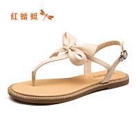 红蜻蜓女鞋夏款甜美仙女风夹趾凉鞋ins时尚百搭低跟鞋女