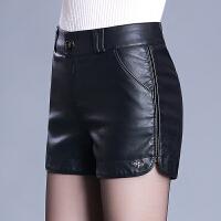 pu皮短裤女秋冬2018春季新款韩版修身皮裤子显瘦高腰靴裤
