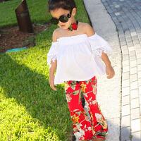 女童童装套装白色一字领纯色短袖露肩T恤+喇叭裤女宝宝两件套装
