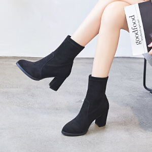 ZHR尖头小短靴子女春秋季2018新款瘦瘦靴网红袜靴百搭粗跟裸靴单