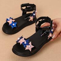 新款水钻中大童女鞋防滑女童凉鞋韩版夏季露趾舒适公主鞋子潮