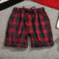 夏季日系格子休闲短裤男士加肥加大码韩版宽松五分裤潮流胖子裤子
