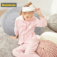 巴拉巴拉儿童睡衣套装女秋冬新品加厚长袖女童家居服中大童法兰绒