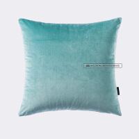 天鹅绒纯色简约靠枕现代毛绒绒 沙发大靠垫床上抱枕腰靠背垫 SJ-08 水绿