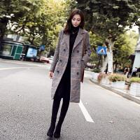 外套女中长款韩版2018新款秋冬季赫本风流行千鸟格子呢子大衣