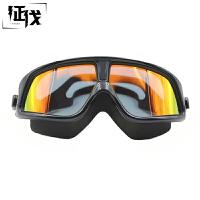 征伐 游泳眼镜 新款成人平光防雾防水眼镜男游泳装备高清电镀大框轻镜架鼻桥一体式潜水镜女
