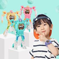 儿童变形玩具电子表 学生变身金刚手表机器人 3-6岁男女孩卡通玩具
