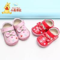 小熊维尼童鞋宝宝学步鞋女婴儿皮鞋0-1岁软底春秋真皮宝宝鞋半岁