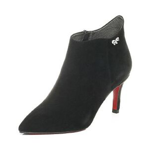 Belle/百丽2017冬新品黑色优雅知性羊绒皮女短靴BMWA6DD7