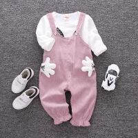 童装女童秋装套装新款女宝宝春秋背带两件套 长袖潮衣