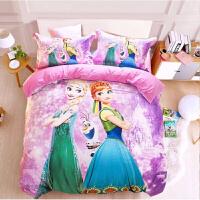 冰雪奇�3D全棉四件套床品艾�公主�L�和�棉被套卡通床�稳�件套 紫色 冰雪女孩紫粉