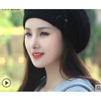 新品时尚贝雷帽韩版潮流百搭保暖护耳兔毛线帽子女