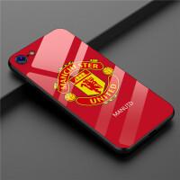 iPhone8plus曼联手机壳苹果X曼联玻璃壳XS MAX英格兰足球队保护套6SP世界杯钢化壳7P 6/6S 红曼联