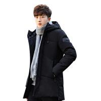 反季羽绒服男中长款青年加厚白鸭绒2018冬季新款修身韩版防寒服男 黑色 X