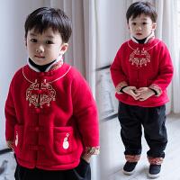 男童新年装冬唐装儿童套装冬加绒加厚复古刺绣平安金锁大红拜年服