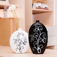创意黑白默然陶瓷花瓶工艺品摆件家居房间装饰品摆设结婚礼物