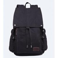 韩版背包双肩包男士时尚潮流学院风大学生高中学生书包帆布旅行包 黑色