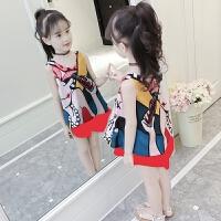童装女童洋气夏装时髦套装儿童夏季雪纺短裤两件套潮