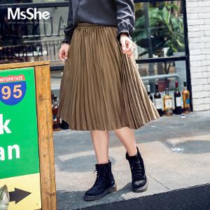 MsShe大码女装2017新款200斤冬装复古风百褶裙半身裙中裙M1710705