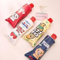 【单品包邮买二赠一】牙膏造型 学生笔袋 大容量笔袋 可爱卡通 大容量 收纳袋 带削笔刨 韩国 个性创意