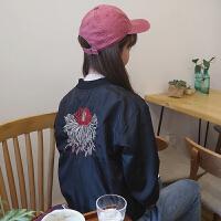 春秋新款韩版百搭宽松显瘦复古刺绣棒球服短款外套女学生夹克上衣