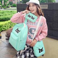 双肩包女包日韩版潮学院风高中学生书包初中生旅行背包套装