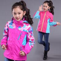 女童冲锋衣外套中大童可拆卸三合一儿童加绒迷彩外套