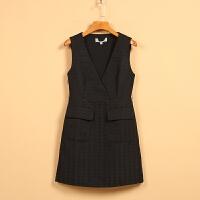 【秋二波】新款春8F1214学院风双插口低领无袖连衣裙