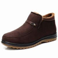 老北京布鞋男棉鞋加厚保暖加绒牛筋底中老年男爸爸棉靴冬季男短靴真皮