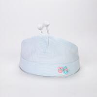 婴儿空顶帽婴儿空顶帽0-3-6个月夏天新生儿棉纱护气门凉帽卤门薄款宝宝帽子 蓝色 天线宝宝气门帽 均码