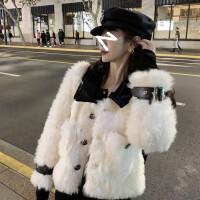 法式皮毛一�w仿羊羔毛皮草短外套女冬季加厚��松水貂毛毛�q大衣