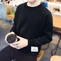 新款男士秋季套头卫衣青少年韩版外套情侣学生连帽衣服男装 时尚潮流 速干排汗透气舒适 CY12黑色 M