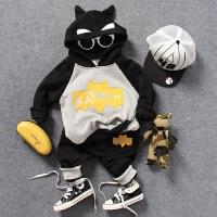 儿童加绒连帽卫衣2件套装秋冬男童羊羔绒蝙蝠立体造型上衣裤子