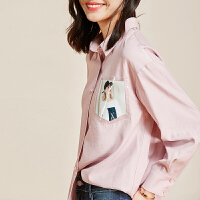 【清仓99元】YHMW衬衫女春秋设计感小众复古港味时尚百搭长袖上衣洋气