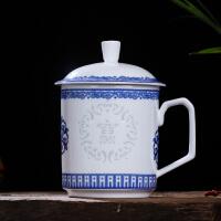 陶瓷杯带盖青花玲珑瓷富贵如意 景德镇高白瓷茶杯大号水杯子6879 富贵(镂空玲珑瓷)