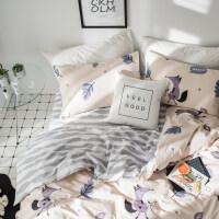 ins北欧简约水洗棉床笠三四件套小清新床单被套床上用品
