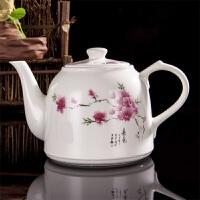 大容量陶瓷水壶耐热防爆开水泡茶壶家用加厚夏季瓷把手冷水凉水壶 桃花 瓷把手款
