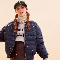 美特斯邦威轻羽绒服女短款2017冬装新款棒球bf风宽松外套商场款