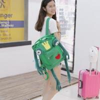 双肩包女韩版可爱青蛙皇冠大容量书包帆布手提双肩包 绿色 呆萌青蛙
