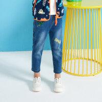 【1件3折到手价:53.7】moomoo童装男童下装2019春季新款休闲中腰男幼童牛仔长裤